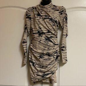 H & M Tiger Print Black Ruched Body Con Dress S